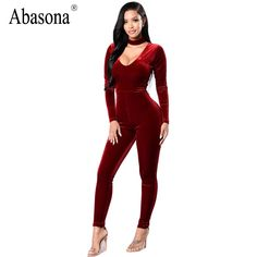 3101358b322c Abasona Velvet women jumpsuit romper 2017 Autumn winter elegant party Cut  out bodycon playsuits long sleeve