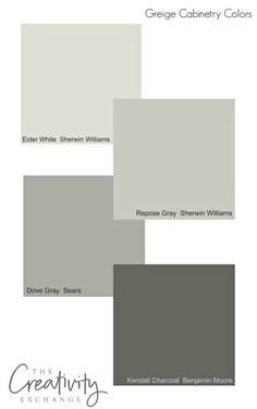 Popular greige cabinet colors that work well in different lighting situations.