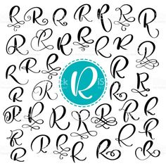 Set Letter R Hand Drawn Vector Flourish Calligraphy Script Font . Handwriting Alphabet, Hand Lettering Alphabet, Calligraphy Handwriting, Calligraphy Letters, Tattoo Lettering Fonts, Lettering Design, Lettering Styles, Script Fonts, Letter R Tattoo