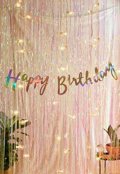 Slide View: 1: Ginger Ray Iridescent Foil Happy Birthday Banner