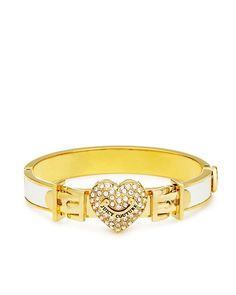 Pave Heart Leather Hinged Bangle - Juicy Couture