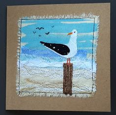 This, that and everything inbetween: cards Free Motion Embroidery, Free Motion Quilting, Embroidery Art, Machine Embroidery, Ocean Quilt, Beach Quilt, Fabric Cards, Fabric Postcards, Small Quilts
