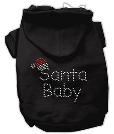 Santa Baby Dog Hoodie Black-Extra Small  15% Discount - Use code DOGGIE at Checkout   http://www.gingersdoggieheaven.com #HolidayDogClothes 15% Discount - Use code DOGGIE at Checkout