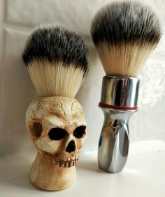 My two favorite Shaving brushes. Left: Custom skull brush by +Brent Jacobson​…