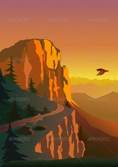 Mountain and Sunset #GraphicRiver Mountain and sunset. % 100 Re-sizable File includes EPS + AI + JPG – RGB Jpg file size : 3543 px – 5011 px. Created: 28March13 GraphicsFilesIncluded: JPGImage #VectorEPS #AIIllustrator Layered: No MinimumAdob