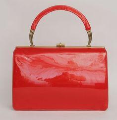Vintage 50s 60s Lipstick Red Shiny Mirror Finish Kelly Handbag