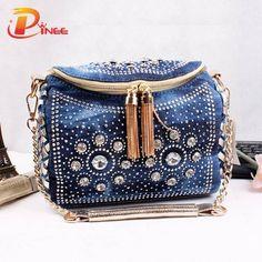 bfed73d1d6 Rhinestone Handbags Designer Denim Handbags Fashion Blue Denim Jean Bags  Bling Fashion Small Bag with Tassel Shoulder Bag with Rhinestone Lady Denim  Women ...