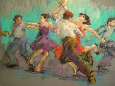Jitterbugs All Over Again - original oil pastel figurative painting of dancers, painting by artist Connie Chadwell