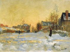 "urgetocreate:  "" Claude Monet - Snow Effect, The Street in Argentuil - 1875  """