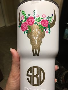 Amazing cow skull flower decal cricut 651 vinyl on RTIC