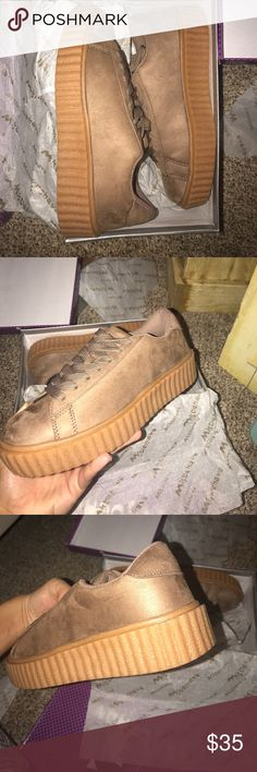 Rihanna puma INSPIRED sneakers NWT trendy style, comfy shoe, brand new shipped in original box. Get them while you can!!!   Color: tan.  Size: 7.5 Shoes Sneakers