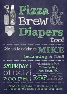 Beer and Diaper Party Invitation for Man Shower - Beer, Diapers and Pizza Diaper Party Invites Boy Invitations Beer and Diaper Party Man Shower Thank you for stopping by AsYouWishCreations4u! I create printable party invitations for baby showers, birthday parties, bridal showers