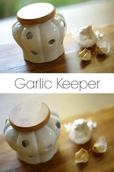 A great place for Garlic storage! Keep it at room temperature in this well-ventilated countertop piece. Kitchen Utensils, Kitchen Gadgets, Garlic Storage, Kitchen Must Haves, Cooking Supplies, Storage Containers, Countertop, Stoneware, Kitchen Products