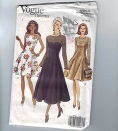 Pattern Number: Vogue 8544    Date: 1992    Size: Misses 12-14-16    Bust: 34-36-38    Waist: 26 1/2-28-30    Hip: 36-38-40    Cut/Uncut: uncut, factory fold    See the second image for the full pattern details. Scan is of the actual pattern and envelope you will receive.    Please see my profile for important shipping information and store policies.