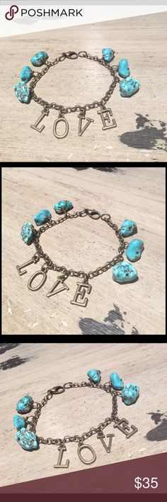 Love LOVE bracelet with turquoise attached. Brass metal chain. Handmade Jewelry Bracelets