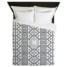 Cool Grey Pattern Queen Duvet
