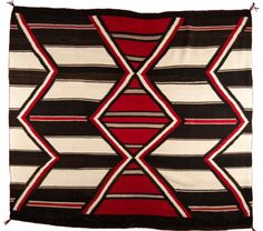 "Navajo Weaving. 6'2"" x 5'8"". Third Phase Chief Variant Blanket pattern with bold, black and white stripes and stepped diamond and zig-zag motifs. Woven from all Native, handspun, long-staple Churro sheep wool on a wool warp. Circa 1910. March In Montana. 2016."
