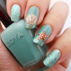 Tiffany Blue Ocean Nails With Seashell and Sea Star
