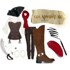 """""""Don Pirate Look"""" by mia-rock on Polyvore - Arrr!! El disfraz de pirata es una de las soluciones de última hora más recurrentes si además le dedicas un poco de tiempo, ¡el resultado puede ser increíble! Para este look el zapato ideal son unas botas altas Don, la forma del cuello es perfecta para darle autenticidad a tu leona de mar interior."""