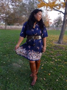"vintage blue floral dress, belt, boots   #thick   #curvy    ""if you like my curvy girl's fall/winter closet, make sure to check out my curvy girl's spring/summer closet.""   http://pinterest.com/blessedmommyd/curvy-girls-springsummer-closet/pins/"