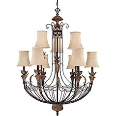 @Overstock - Influenced by traditional and country French design, Verdone's cage frame offers informal elegance in a unique and creative way. This chandelier is beautifully finished in 'gilded cage' and features amber bisque shades.http://www.overstock.com/Home-Garden/Verdone-Gilded-Cage-Amber-Bisque-9-Light-Chandelier/6590548/product.html?CID=214117 $561.99