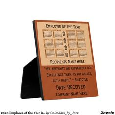 2020 Employee of the Year Desk Calendar by Janz Plaque