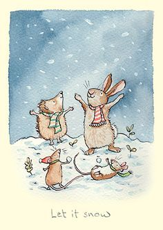 """Let It Snow Card by Anita Jeram. Gifts and Greeting cards for rabbit lovers, mugs and cards. Anita Jeram illustrated """"Guess How Much I Love You"""". Rabbit Drawing, Rabbit Art, Childhood Poem, Hedgehog Pet, Hedgehog Cake, Painted Christmas Cards, Anita Jeram, Penny Black Stamps, Painting Snow"""