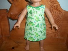 American 18 Inch Doll Clothes dress green with frogs and lizards by sue18inchdollclothes on Etsy