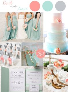 coral and aqua beach themed wedding color ideas and wedding invitations for summer 2015