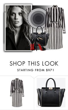 """""""Black and white shirtdress"""" by fashionrushs ❤ liked on Polyvore featuring Paul Smith, Valentino, Posh Girl and shirtdress"""