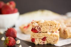 Better than your average blondie, make these yolked out white chocolate strawberry blondies and your taste buds will thank you! Get the recipe here now!