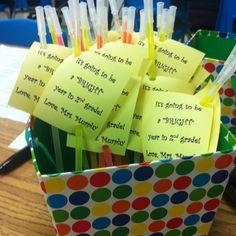 Idea I got from Pinterest. Huge hit for Meet the Teacher!!!