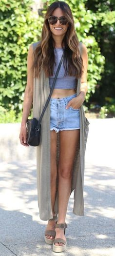 #summer #outfits If I Was Going To Lolla This Year..... 💫 Favorite Vest To Wear Over Crop Tops + Bathing Suits This Summer!