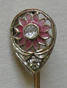 Art Nouveau/Edwardian Pink Plique-a-jour Enamel, Diamond And 14k Gold Stickpin