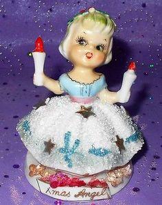 Vintage TMJ Christmas Angel Holding Two Candles Sugar Spaghetti Skirt Gold Stars.