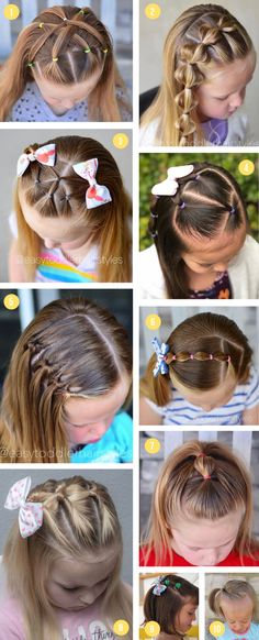Over 100 of the best easy girls hairstyles for toddlers to tweens & teens. Fun braids, ponytails, pigtails, half up & buns for school or fancy occasions. # Braids ponytail schools Easy Girls Hairstyles For Toddlers, Tweens & Teens Easy Toddler Hairstyles, Easy Little Girl Hairstyles, Cute Little Girl Hairstyles, Baby Girl Hairstyles, Ponytail Hairstyles, Hair For Little Girls, Hairstyle For Kids, Hairstyles For Toddlers, Short Hair Hairstyles Easy