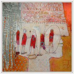 """Gymnastics of the mind..."" Elke Trittel  acrylic on paper 25x25cm"