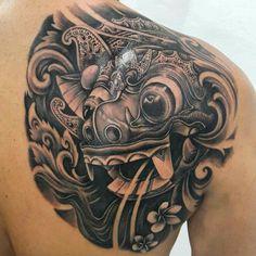 Balinese barong mask tattoo