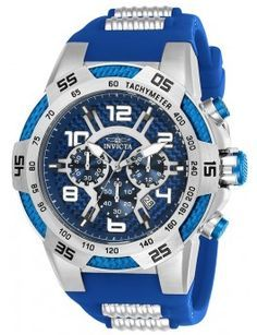 Invicta 24231 men's Speedway blue glass fiber dial steel & blue silicone strap chronograph watch is offered, in a two tone blue ion plated soli. Stylish Watches, Casual Watches, Cool Watches, Watches For Men, Stainless Steel Watch, Stainless Steel Bracelet, Invicta Speedway, Best Watch Brands, Online Watch Store