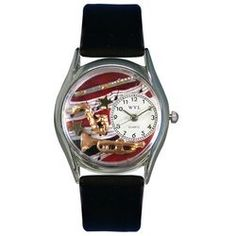 Wind Instruments Black Leather And Silvertone Watch - http://www.artistic-watches.com/2013/01/22/wind-instruments-black-leather-and-silvertone-watch/
