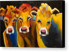 Three Goofy Cows Canvas Print by Diane Whitehead. All canvas prints are professionally printed, assembled, and shipped within 3 - 4 business days and delivered ready-to-hang on your wall. Choose from multiple print sizes, border colors, and canvas materials.