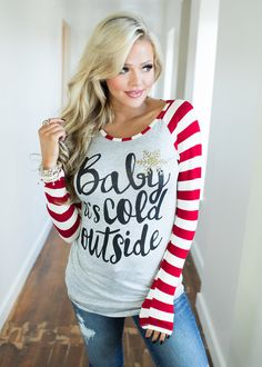 4c68eb3243c2f4 Baby It s Cold Outside Long Sleeve Striped Top Red CLEARANCE