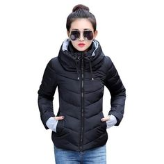 c017b278174 Womens Winter Parkas Thicken Outerwear Coats Short Slim Cotton Jacket.  SITENG Womens Winter Jacket Parkas Thicken Plus Size Outerwear Solid Hooded  ...