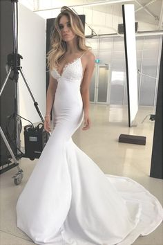 Formal Prom Dresses, Elegant Lace Appliques V-Neck Backless White Sweetheart Spaghetti Straps Mermaid Wedding Dress Brickell Bridal Backless Mermaid Wedding Dresses, Open Back Prom Dresses, V Neck Wedding Dress, Applique Wedding Dress, Backless Wedding, Perfect Wedding Dress, Mermaid Dresses, Bridal Dresses, Wedding Gowns