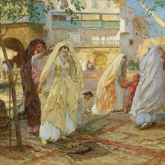Tableau du port d'Alger d'autrefois peint par frank arthur bridgman regardez ce que nos femmes porta - lina.queen1