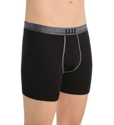 Saxx Underwear SXBB41F Platinum Boxer with Fly (Black L), Men's, Size: Large