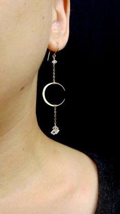 8d9673e4dcc Crescent Drop Earrings - Moon Jewelry, Herkimer Diamonds, 14k Gold Filled…  - jewelry