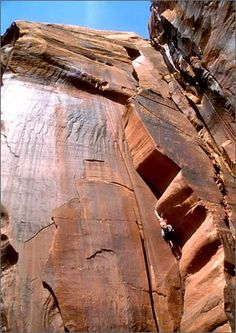 Sheyna Button ascends the Wavy Gravy hand crack on the Scarface Wall in Indian Creek, Utah.
