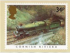 Post Office Postcard Famous Trains Cornish Riviera from 14p Stamp T Cuneo 1985