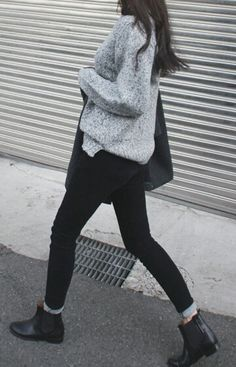 Gray Jumper, Black Trousers, Black Ankle Boots  | Death by Elocution